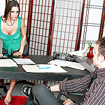 Busty brunette gives work colleague a nice titty fuck